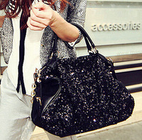 Promotion pu leather with glitter women fashion shoulder bags versatile simple style silt pocket bags free shipping