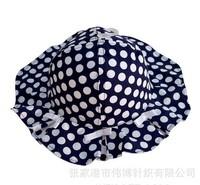 2015 New Children Caps White Dot Blue Color Hat Summer Sunbonnet  Bucket  Girls Beach 4 Size 48cm,50cm,52cm,54cm