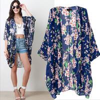 2015 Fashion Spring New Plus Size Chiffon  Blue Ladies Retro Flower Floral Print Kimono Women Shirt Blouse Top  Blusas Femininas