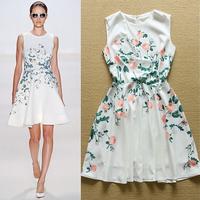 2015 Summer Runway High Quality Designer Dress Women's Charming Sleeveless Floral Printed Tank Dress Cute Boutique Dress