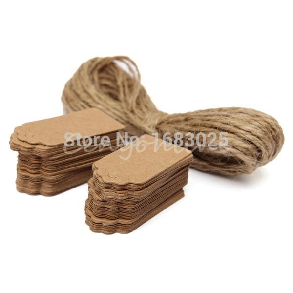 100X Brown Kraft Paper Tags Lace Scallop Head Label Luggage Wedding Note +String DIY Blank price Hang tag Kraft Gift Hang tag(China (Mainland))