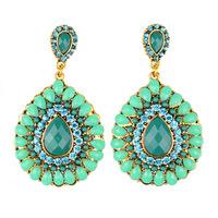 Fashion vintage Drop earrings bohemian European style drop-shaped Resin crystal green big earring for women jewelry ER-011190