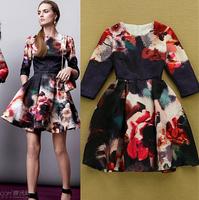 2015 European High Street Runway Designer Dress Women's Half Sleeve Vintage Floral Printed Cotton Embossed Dress