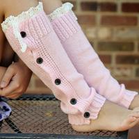 2015 Newest baby girls leg warmers Button Down Boot Cuffs lace trim gaiters Boot Socks Crochet Leg Warmers Knit Leg Warmers