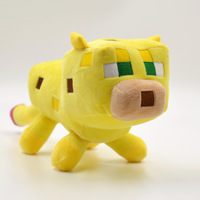 2015 New Minecraft toys ocelot design kids plush toys Genuine animal stuffed toys Baby Toys whie color 14.5 CM Xmas Gift
