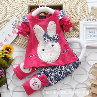 Cartoon rabbit head bows long sleeve spring four color cotton children's clothes, boys girls in general use