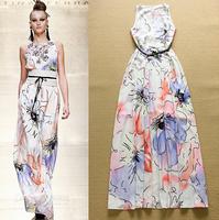 2015 Europe Runway Designer Long Dress Women's Charming Sleeveless Multicolor Floral Print Cute Summer Holiday Maxi Dress