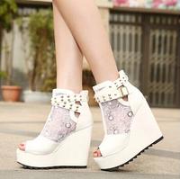 Fashion Wedge Lace Gauze Casual Women High Heels Buckled Decoration Platforms Flora Patchwork Comfortable Sandals Peep Toe Shoes