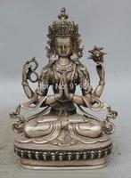 "8"" Tibet Tibetan Buddhism Silver 4 arms Chenrezig Buddha Avalokiteshvara Statue"