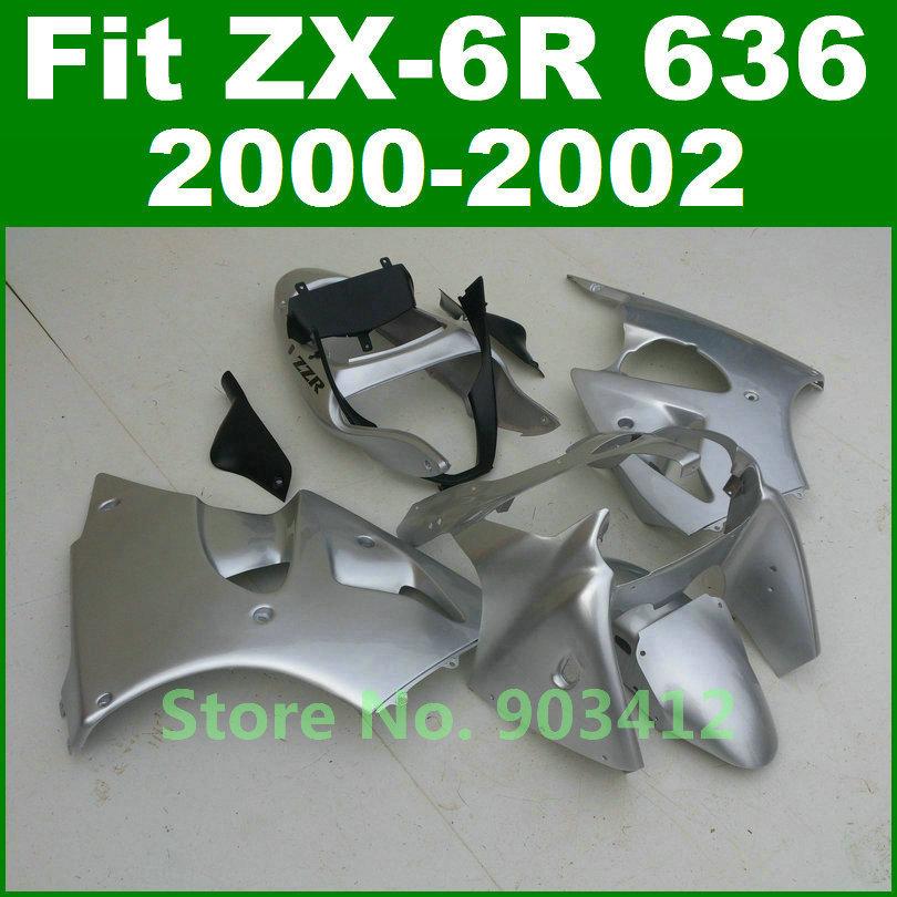 All silver body set Kawasaki Ninja ZX6R fairing kit 2000 2001 2002 fairings 00 01 02 zx600 bodywork parts J7B2(China (Mainland))