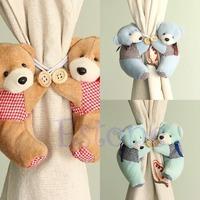 1 Pair Baby Kid Cartoon Bear Holder Nursery Bedroom Curtain Tieback Buckle Hook 3Colors