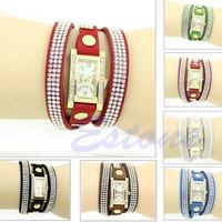 Fashion New Vintage Rhinestone Square Dial Weave Wrap Bracelet Fancy Wrist Watch