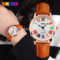 Free shipping 2015 fashion casual Woman PU Personality watch Waterproof Quartz Wristwatches 4 colors