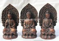 Lucky China Chinese Bronze Fengshui Kwan-yin Shakyamuni Buddha 3 God Statue H