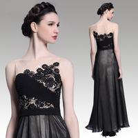 New Arrival 2015 Black Lace Flower Elegant  A-line Long Evening Dress Plus Size Wedding Party Dresses Goddess Prom Gown Vintage