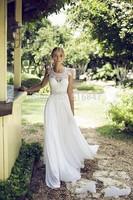 FDCL Custom Size New Elegant White/ivory Beading Sashes Chiffon Wedding Dresses Cap Sleeve A-Line Bridal Gown Free Shipping