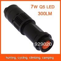 Mini LED Flashlight Torch Adjustable Focus Zoom 7W 300LM Light Lamp Black Free Shipping 82800