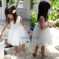 Baby Girls Lovely Sleeveless Net Yarn Splicing Ball Gown Floral Princess Dress
