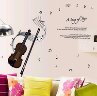 Violin wall sticker A Song of Joys Removable living room  PVC wall stickers Violin sticker
