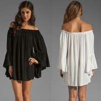 Sale Newest Europe Fashion Women off the Shoulder Flare Sleeve Sexy Top Quality Mini solid Dress Boho Chiffon Dress Plus Size