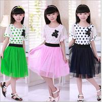 2015 New Brand Girl Dress O-Neck Korean Causal Dot Princess Summer Dresses ,Girl Clothes,Children Clothing Free Shipping