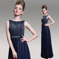 Top Quality 2015 Navy Beading Elegant  A-line Long Evening Dress Plus Size Goddess Party Dresses Prom Gown Vintage vestido longo