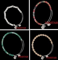8pcs/lot(2pcs/color) Vnistar mixed alex and ani beaded bracelet with 5mm stone beads and 4mm&6mm faced beads VABB010