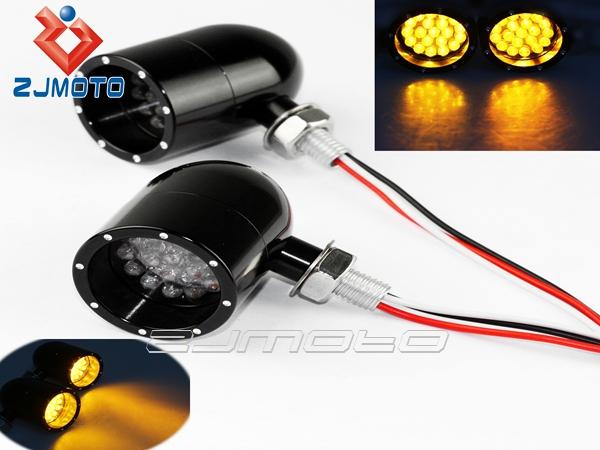 ZJMOTO Universal Motorcycle Turn Signal Cruiser Chopper Custom Lights LED Black LED Turn Signals Light Indicator Lamps Bobber(China (Mainland))