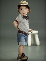 2015 brand children clothing sets baby boys cotton polo shirt+denim shorts/ jeans+cap+tie accessories set  summer 4pcs suit 204