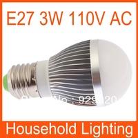 Ultra Bright E27 Dimmable Globe LED bulb lamp 110V 3W white/warm white Free Shipping 82087 82088