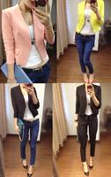2015 spring candy color blazer ol slim short suit design outerwear three quarter sleeve female blazer 15020603