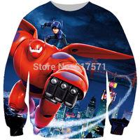 2014 women /man Unisex Big hero 6 baymax hiro Crewneck 3d Sweatshirt Jumper Sweat