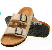 Free Shipping New In 2015 Women Slipper Birkenstock Cork Shoes Summer Beach Sandals Fashion Lovers Buckle Slides Plus Size