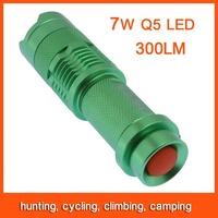 10pcs Mini LED Flashlight Torch Adjustable Focus Zoom 7W 300LM Light Lamp Green Free Shipping 82801