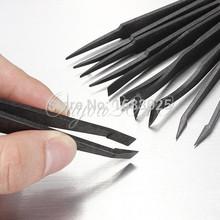 2015 New Arrival Portable Black Straight Bend Anti-static Plastic Tweezer Heat Resistant Repair Tool Free Shipping