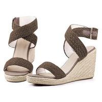 New 2015 Women Gladiator Sandals Fashion Cross Strap Bukle Straw Braid Wedge Sandals Women High Heels Bohemia Beach Sandals
