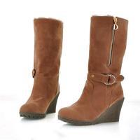 2015 Vintage Flock Plush Round Toe Platform Wedges Ankle Boots for Women Fashion Ankle Strap Side Zipper Ladies Winter Boots