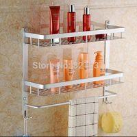 Free shipping Bathroom bathroom 2 tier double layer square shelf basket side frame Bathroom Shower Caddy Shelf Storage