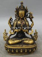 "9"" Tibet Buddhism Copper Seat 4 arms Chenrezig Buddha Avalokiteshvara Statue"