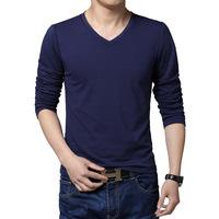 2015 new t shirt cotton t shirts body building men solid color men's v-neck long sleeve t shirt men t shirts fashion Korean