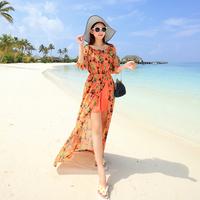 2015 chiffon strapless placketing bohemia one-piece dress full dress beach dress