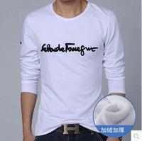 2015 t shirt cotton t shirts fashion body building men new men's long sleeve t shirt Korean version of skinny letters printed