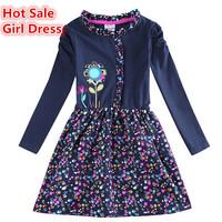 Hot Sale long sleeve navy blue baby girl dress floral girls clothes kids vestidos spring autumn clothing girl vestido