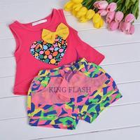 Summer Girls Clothes T-shirt+Short Pants Fashion Baby Kid Casual Sets Sleeveless Flower Shorts
