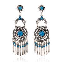 Fashion vintage Drop earrings European style Round red crystal long tassel Earrings for women jewelry wholesale ER-027515