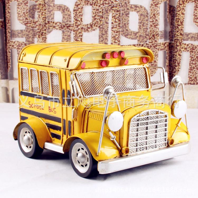 Antique Iron Metal Crafts BUS US school bus bar cafe home decor gift ideas(China (Mainland))