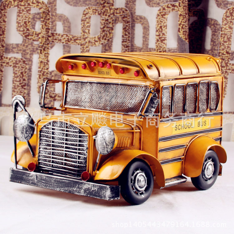 Antique wrought iron metal crafts school bus on bus bar cafe home decor gift ideas Metal Crafts(China (Mainland))