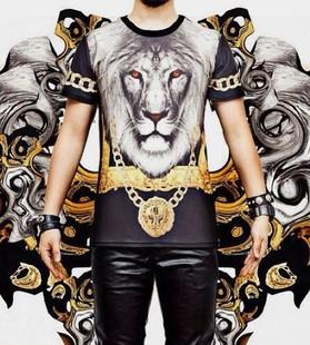 3D Lion Print Hip Hop T V 3d Lion Print Hip Hop T