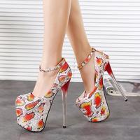 2015 New Arrival Print Python High Heels Ankle Strap Sapatos Femininos Women Pumps Wedding Shoes Spring Autumn Shoes Women