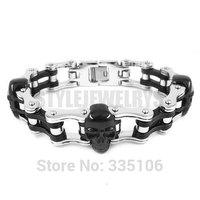 Free shipping! Black Skull & Silver Heavy Motor Biker Bracelet Stainless Steel Jewelry Cool Bicycle Chain Men's Bracelet SJB0261